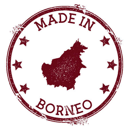 Made in Borneo stamp. Grunge rubber stamp with Made in Borneo text and island map. Divine vector illustration.