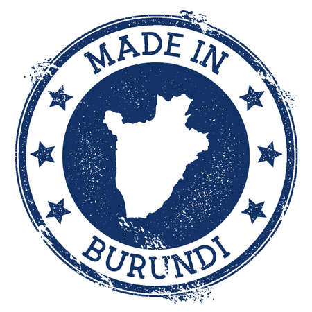 Made in Burundi stamp. Grunge rubber stamp with Made in Burundi text and country map. Classic vector illustration. Illustration