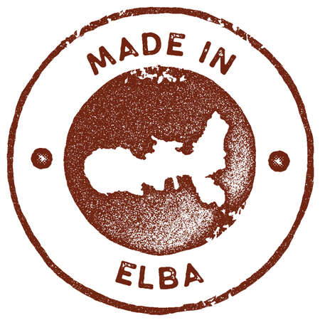Elba map vintage stamp. Retro style handmade label, badge or element for travel souvenirs. Red rubber stamp with island map silhouette. Vector illustration. Çizim