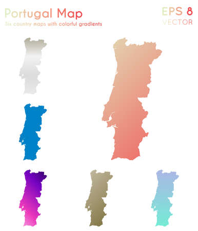 Map of Portugal with beautiful gradients. Alluring set of Portugal maps. Noteworthy vector illustration.