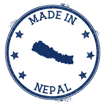 Made in Nepal stamp. Grunge rubber stamp with Made in Nepal text and country map. Terrific vector illustration.