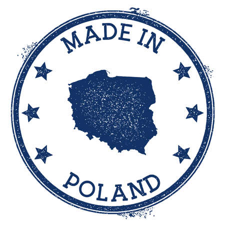 Made in Poland stamp. Grunge rubber stamp with Made in Poland text and country map. Amazing vector illustration. Vektoros illusztráció