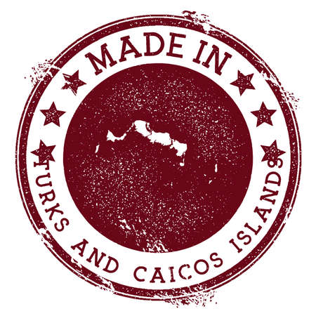 Made in Turks and Caicos Islands stamp. Grunge rubber stamp with Made in Turks and Caicos Islands text and island map. Neat vector illustration.