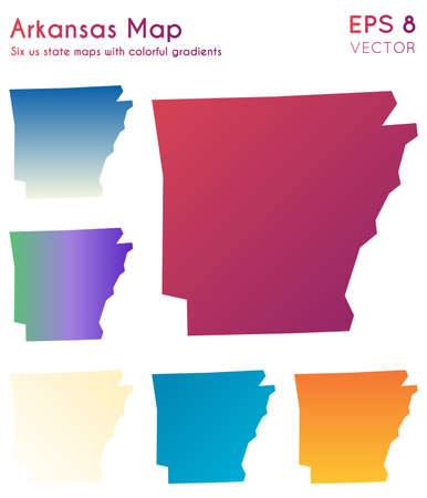 Map of Arkansas with beautiful gradients. Awesome set of Arkansas maps. Quaint vector illustration.