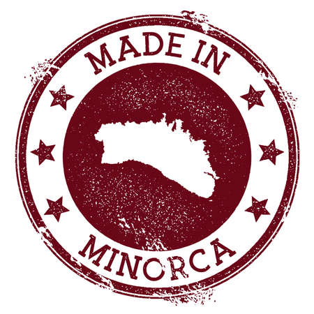 Made in Minorca stamp. Grunge rubber stamp with Made in Minorca text and island map. Modern vector illustration.