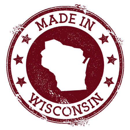 Made in Wisconsin stamp. Grunge rubber stamp with Made in Wisconsin text and us state map. Immaculate vector illustration.