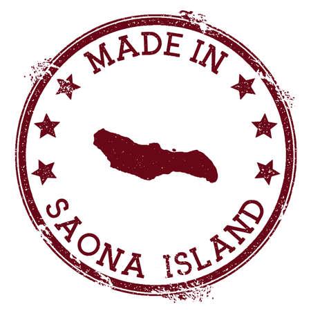 Made in Saona Island stamp. Grunge rubber stamp with Made in Saona Island text and island map. Extra vector illustration. Ilustração
