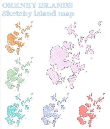 Orkney Islands sketchy island. Eminent hand drawn island. Energetic childish style Orkney Islands vector illustration. Illustration