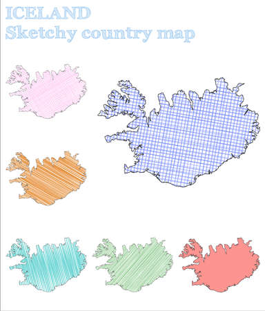 Iceland sketchy country. Magnificent hand drawn country. Majestic childish style Iceland vector illustration.