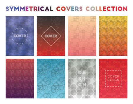 Symmetrical Covers Collection. Actual geometric patterns. Delicate background. Vector illustration.