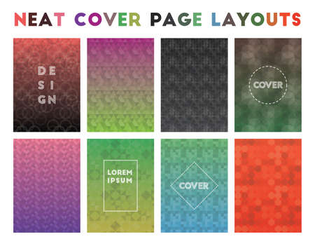 Neat Cover Page Layouts. Actual geometric patterns. Magnetic background. Vector illustration.