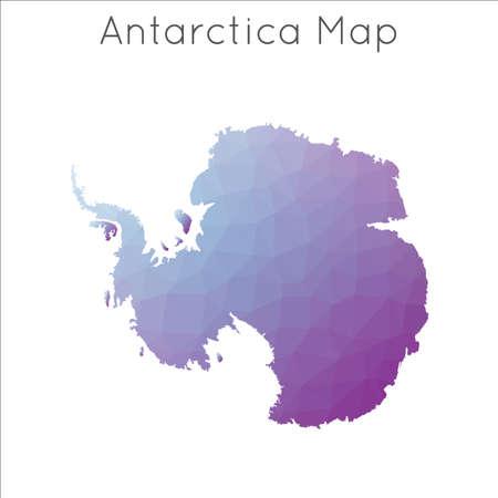 Low Poly map of Antarctica. Antarctica geometric polygonal, mosaic style map.