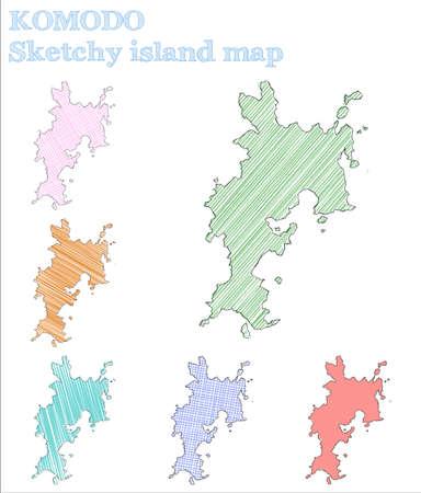 Komodo sketchy island. Unique hand drawn island. Valuable childish style Komodo vector illustration.