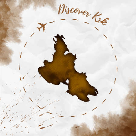 Krk watercolor island map in sepia colors. Discover Krk poster with airplane trace and handpainted watercolor Krk map on crumpled paper. Vector illustration. Ilustrace
