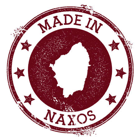 Made in Naxos stamp. Grunge rubber stamp with Made in Naxos text and island map. Pleasing vector illustration. Illustration