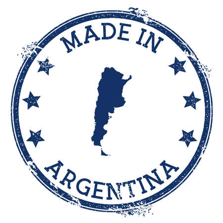 Made in Argentina stamp. Grunge rubber stamp with Made in Argentina text and country map. Astonishing vector illustration.