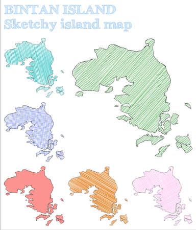 Bintan Island sketchy island. Grand hand drawn island. Ideal childish style Bintan Island vector illustration.