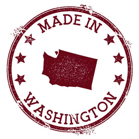 Made in Washington stamp. Grunge rubber stamp with Made in Washington text and us state map. Imaginative vector illustration.