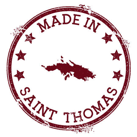 Made in Saint Thomas stamp. Grunge rubber stamp with Made in Saint Thomas text and island map. Curious vector illustration.