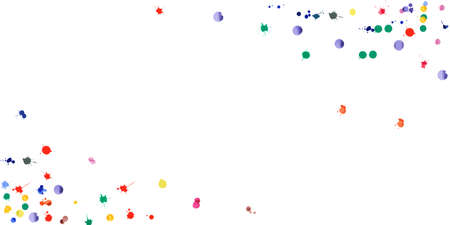 Watercolor confetti on white background. Rainbow colored blobs wide corners. Colorful bright hand painted illustration. Happy celebration party background. Flawless vector illustration.