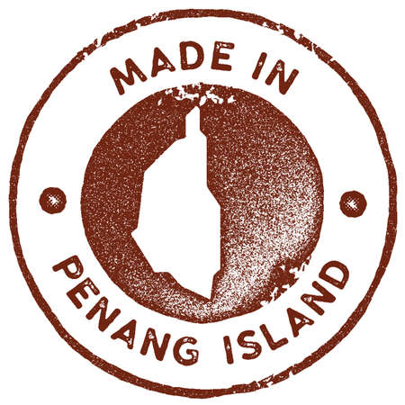Penang Island map vintage stamp. Retro style handmade label, badge or element for travel souvenirs. Red rubber stamp with island map silhouette. Vector illustration. Ilustracja