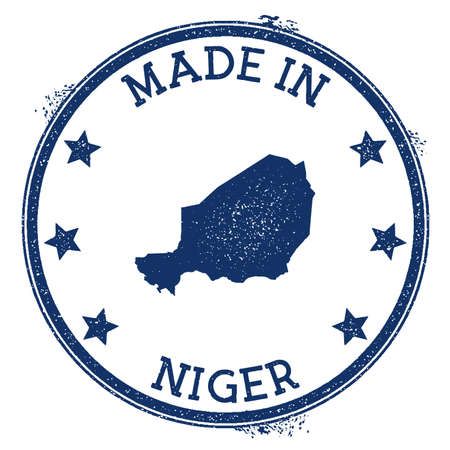 Made in Niger stamp. Grunge rubber stamp with Made in Niger text and country map. Shapely vector illustration.