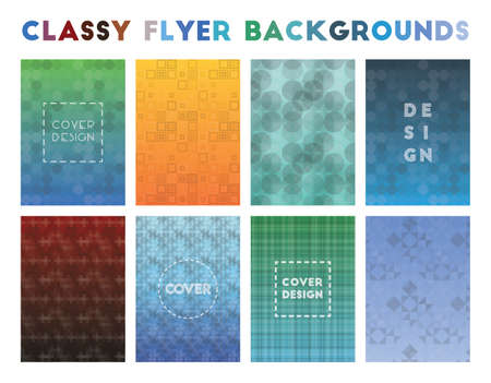 Classy Flyer Backgrounds. Adorable geometric patterns. Original background. Vector illustration.