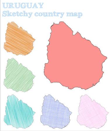 Uruguay skizzenhaftes Land. Bezauberndes handgezeichnetes Land. Ausgezeichnete kindische Art Uruguay-Vektor-Illustration. Vektorgrafik