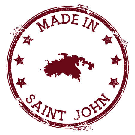 Made in Saint John stamp. Grunge rubber stamp with Made in Saint John text and island map. Brilliant vector illustration.