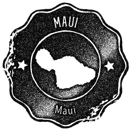 Maui map vintage stamp. Retro style handmade label, badge or element for travel souvenirs. Black rubber stamp with island map silhouette. Vector illustration.