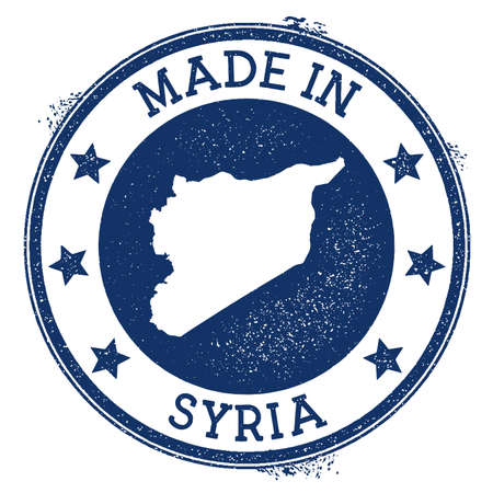 Made in Syria stamp. Grunge rubber stamp with Made in Syria text and country map. Fresh vector illustration.