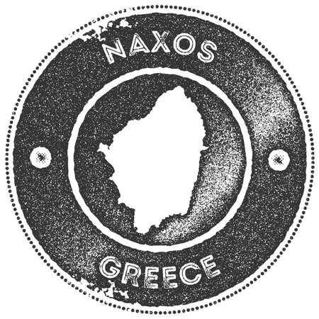 Naxos map vintage stamp. Retro style handmade label, badge or element for travel souvenirs. Dark grey rubber stamp with island map silhouette. Vector illustration.