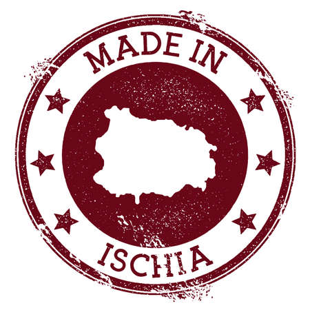 Made in Ischia stamp. Grunge rubber stamp with Made in Ischia text and island map. Symmetrical vector illustration.