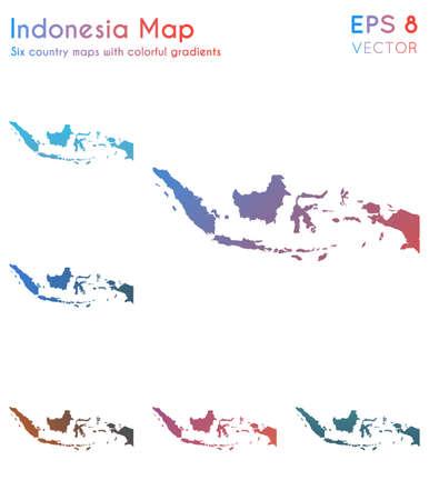 Carte de l'Indonésie avec de beaux dégradés. Adorable ensemble de cartes indonésiennes. Illustration vectorielle chic.