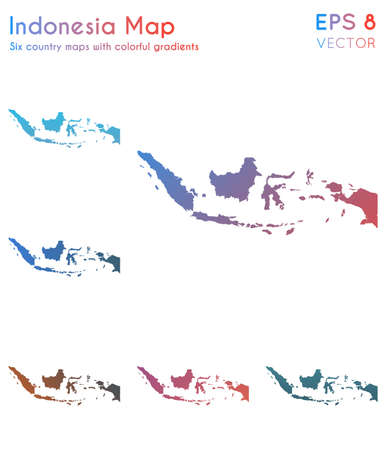 Map of Indonesia with beautiful gradients. Adorable set of Indonesia maps. Posh vector illustration.