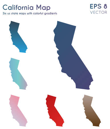 Map of California with beautiful gradients. Awesome set of California maps. Sublime vector illustration.
