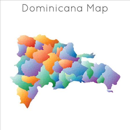 Low Poly map of Dominicana. Dominicana geometric polygonal, mosaic style map. Ilustração
