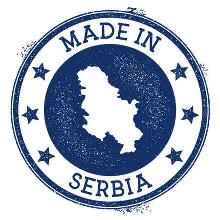 Made in Serbia stamp. Grunge rubber stamp with Made in Serbia text and country map. Exceptional vector illustration.