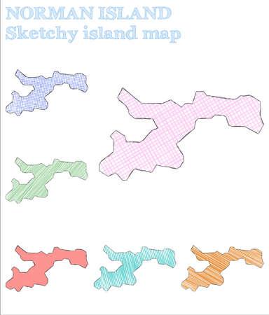 Norman Island sketchy island. Divine hand drawn island. Elegant childish style Norman Island vector illustration. Illustration