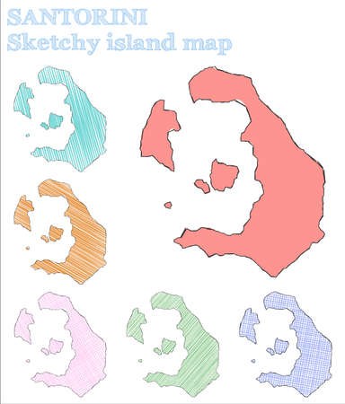 Santorini sketchy island. Interesting hand drawn island. Lively childish style Santorini vector illustration.