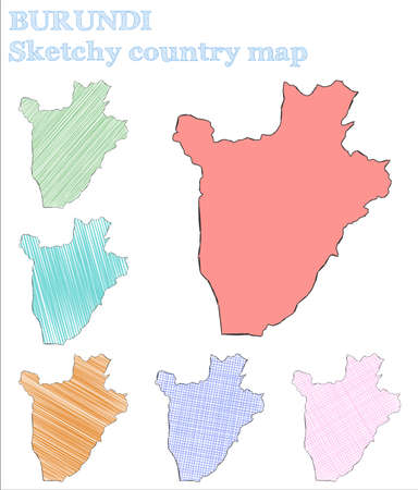 Burundi sketchy country. Attractive hand drawn country. Authentic childish style Burundi vector illustration. Illustration