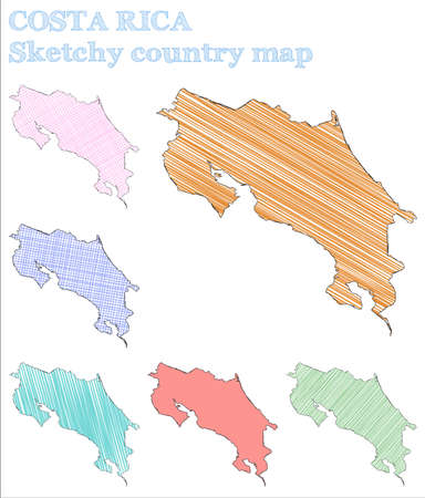 Costa Rica sketchy country. Dramatic hand drawn country. Ecstatic childish style Costa Rica vector illustration.