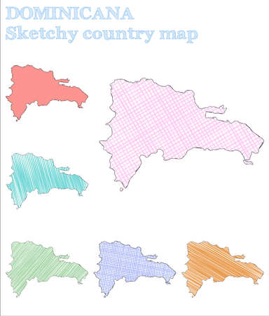 Dominicana sketchy country. Exceptional hand drawn country. Exotic childish style Dominicana vector illustration.