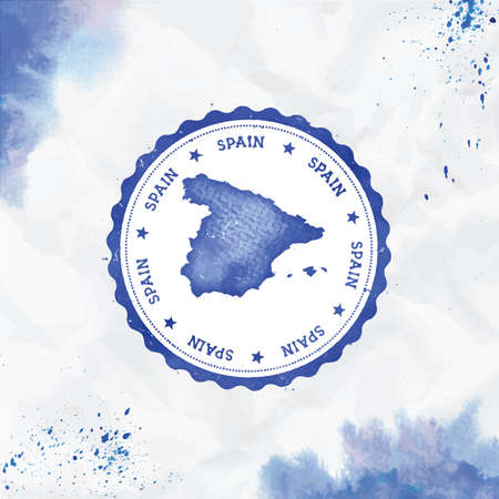 Spain watercolor round rubber stamp with country map. Blue Spain passport stamp with circular text and stars, vector illustration.