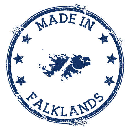 Made in Falklands stamp. Grunge rubber stamp with Made in Falklands text and country map. Sublime vector illustration.