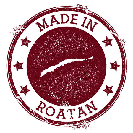 Made in Roatan stamp. Grunge rubber stamp with Made in Roatan text and island map. Awesome vector illustration.