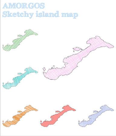 Amorgos sketchy island. Fascinating hand drawn island. Fetching childish style Amorgos vector illustration.