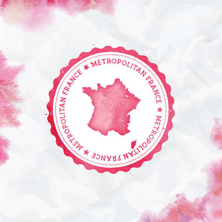 France watercolor round rubber stamp with country map. Red France passport stamp with circular text and stars, vector illustration.
