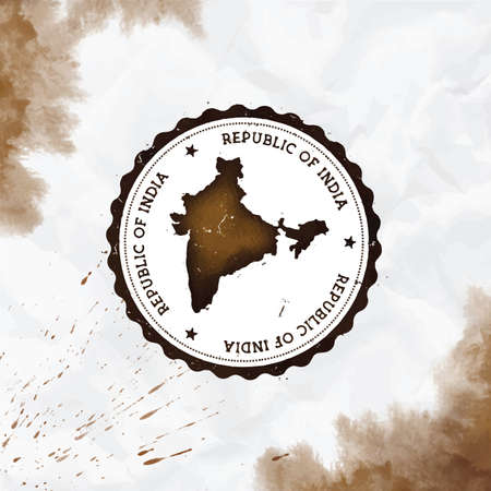India watercolor round rubber stamp with country map. Sepia India passport stamp with circular text and stars, vector illustration.
