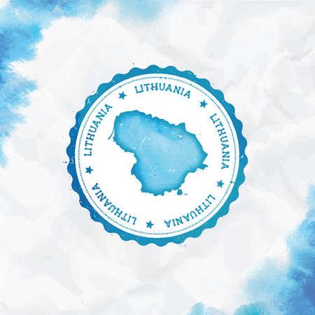 Timbro di gomma rotondo dell'acquerello di Lituania con mappa del paese. Timbro del passaporto lituano turchese con testo circolare e stelle, illustrazione vettoriale.